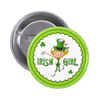 Irish Girl Leprechaun Hat Flag & Shamrock Clovers 6 Cm Round Badge