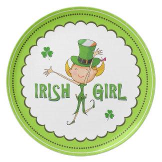 Irish Girl Leprechaun Hat Flag & Shamrock Clovers Plates