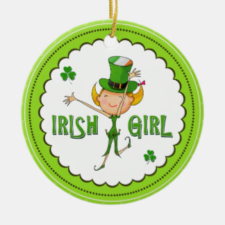 Irish Girl Leprechaun Hat Flag & Shamrock Clovers Round Ceramic Decoration