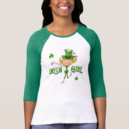 Irish Girl Leprechaun Hat Flag & Shamrock Clovers T-Shirt