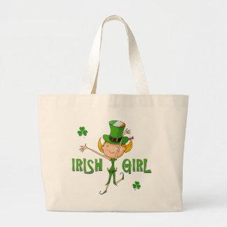 Irish Girl Leprechaun Hat Flag & Shamrock Clovers Jumbo Tote Bag