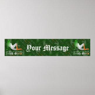 Irish Girl Silhouette Flag Banner Poster
