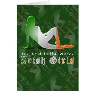 Irish Girl Silhouette Flag Greeting Card