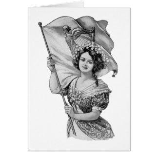 Irish Girl with Flag & Shamrocks & Blessing Greeting Card