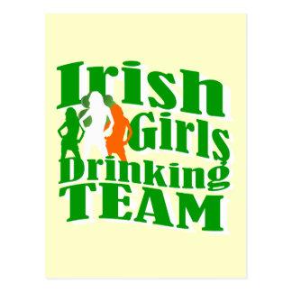 Irish girls drinking team postcard