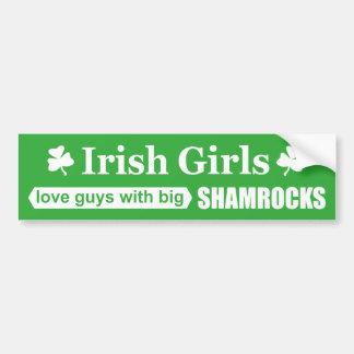Irish Girls Love Big Shamrocks Funny Bumper Sticker
