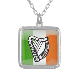 Irish glossy flag silver plated necklace