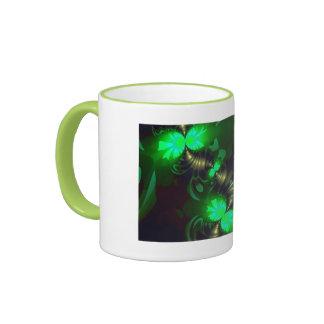 Irish Goblin – Emerald and Gold Ribbons Ringer Mug
