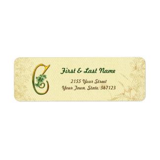 Irish Gold Monogram C Label