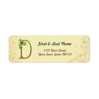 Irish Gold Monogram D Label