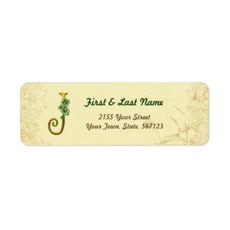 Irish Gold Monogram J Label
