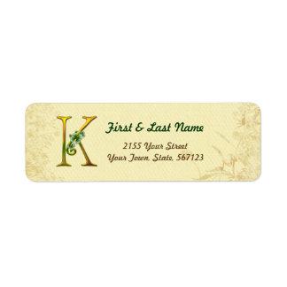Irish Gold Monogram K Label