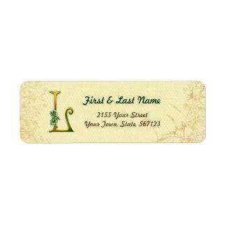 Irish Gold Monogram L Label