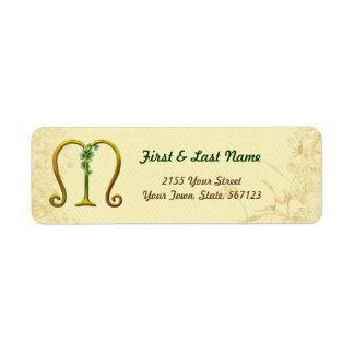 Irish Gold Monogram M Label