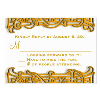 Irish Gold Monogram Wedding RSVP Business Card