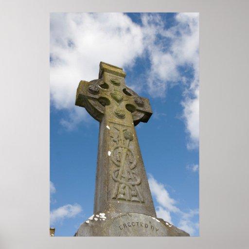 Irish graveyard celtic cross poster