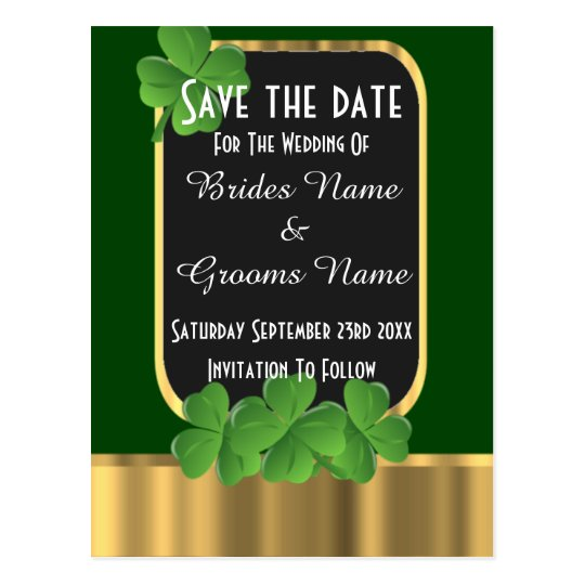 Irish green and gold save the date postcard