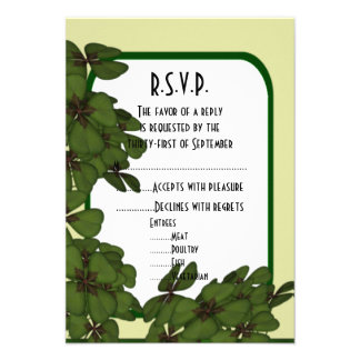 Irish green, and shamrock wedding R.S.V.P 9 Cm X 13 Cm Invitation Card