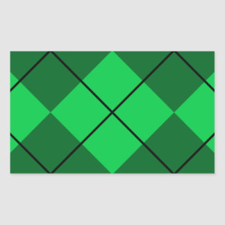 Irish Green Argyle Rectangular Sticker