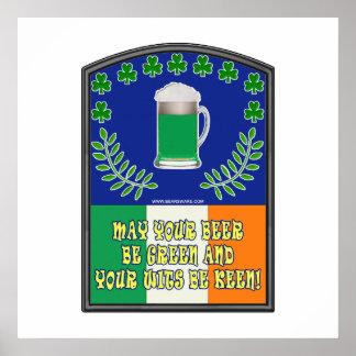 Irish Green Beer Toast Poster