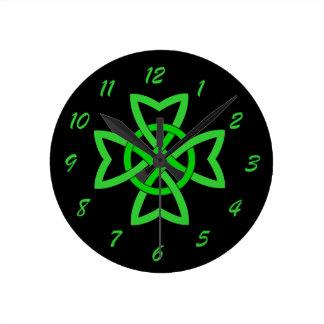 Irish Green Celtic Knot Round Clock