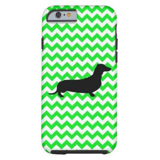 Irish Green Chevron with Dachshund Tough iPhone 6 Case