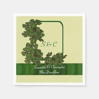 Irish green, cream and shamrock wedding disposable napkins