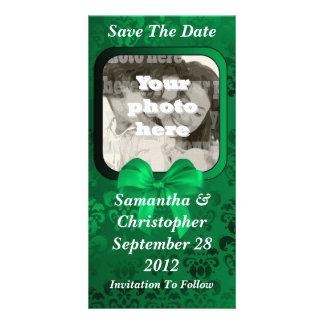 Irish green damask save the date wedding card