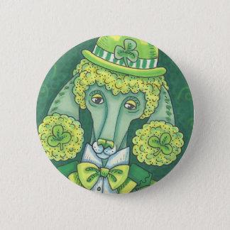IRISH GREEN FRENCH POODLE, DOG BUTTON Round