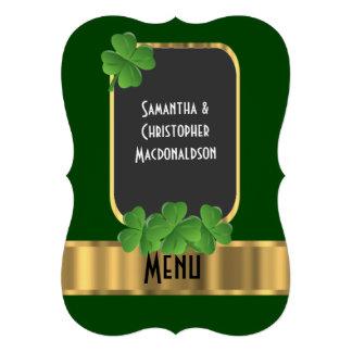 Irish green, gold and shamrock wedding menu 13 cm x 18 cm invitation card