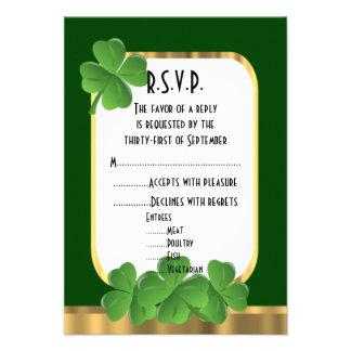 Irish green, gold shamrock wedding R.S.V.P 9 Cm X 13 Cm Invitation Card