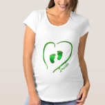 Irish Green Heart and Baby Feet Maternity T-Shirt