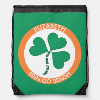 Irish Green Heart Erin Go Bragh Ireland Forever Drawstring Backpack