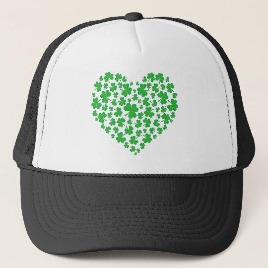 Irish Green Shamrock Heart Cap