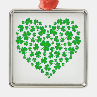 Irish Green Shamrock Heart Christmas Ornament