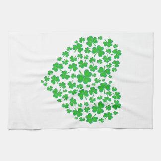 Irish Green Shamrock Heart Tea Towel