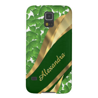 Irish green shamrock pattern personalized galaxy s5 cover
