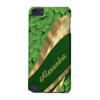 Irish green shamrock pattern personalized iPod touch 5G cover
