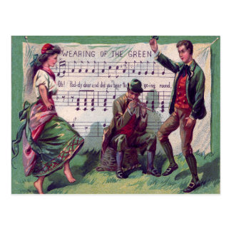 Irish Gypsy Wearing of The Green Jig Postcard