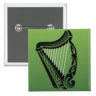 Irish harp 15 cm square badge