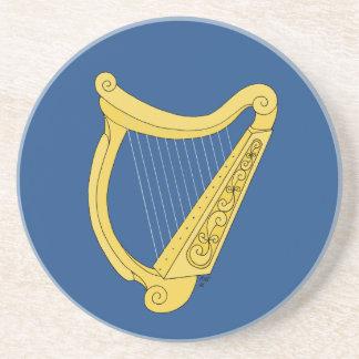 Irish Harp (Blue Background) Sandstone Coaster
