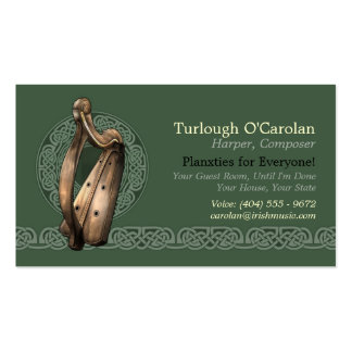 Irish Harp Business Cards, Style 2, Horizontal Pack Of Standard Business Cards