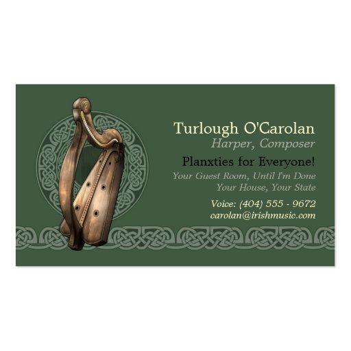 Irish Harp Business Cards, Style 2, Horizontal