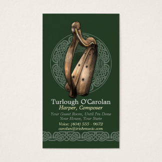 Irish Harp Business Cards, Style 2, Vertical Business Card