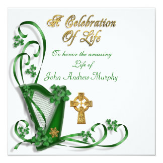 "Irish Harp ""Celebration of Life"" 13 Cm X 13 Cm Square Invitation Card"