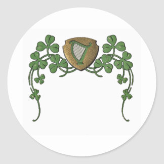 Irish Harp Round Sticker