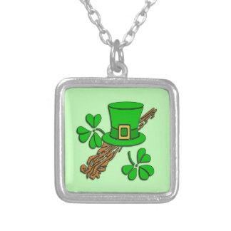 Irish Hat and Shamrocks Silver Plated Necklace