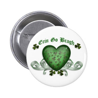 Irish heart Erin Go Bragh green heart 6 Cm Round Badge