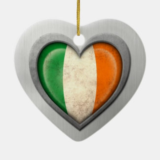 Irish Heart Flag Stainless Steel Effect Christmas Ornament
