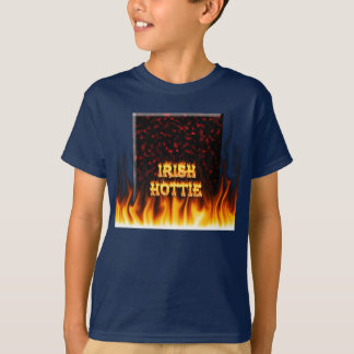 Irish hottie fire and flames Red marble T-shirt